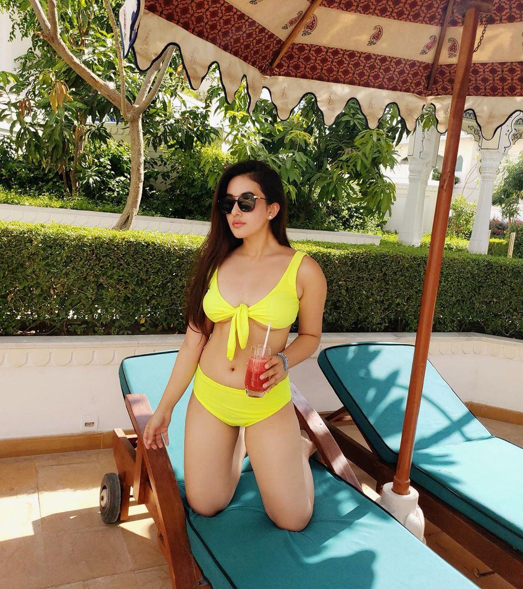 Desi Girl in Yellow Bikini