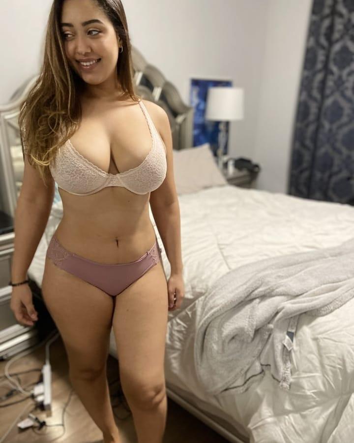 Desi Girl with Big Boobs White Bra