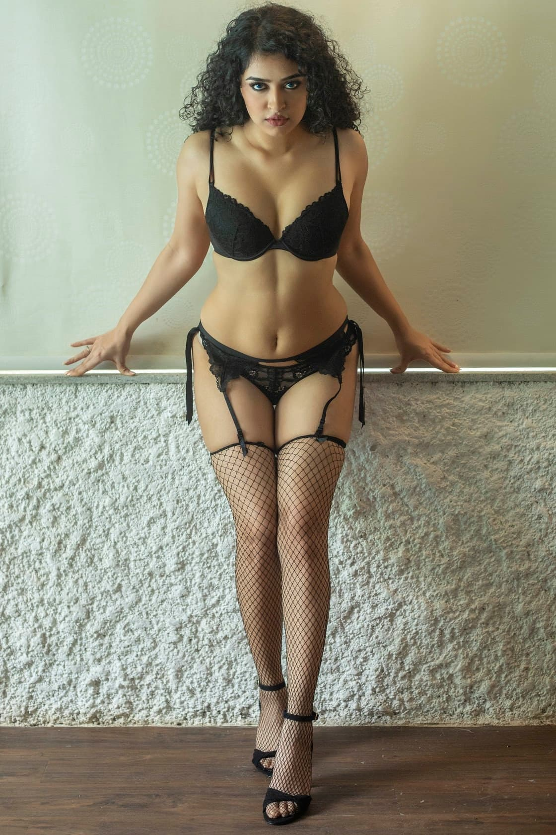 Indian Super Sexy Tall Model Photo Black Panty